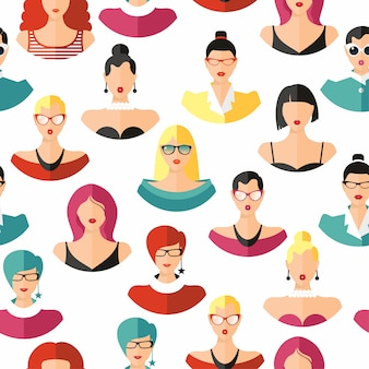 Seamless pattern face hairstylein color. girls vector illustration.