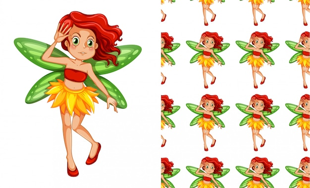 Seamless pattern of a fairy girl
