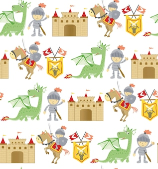 Seamless pattern  of fairy tale cartoon with dragon, knight, horse and castle.