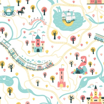 Seamless pattern of the fairytale kingdom with a ship at sea, rivers, train and railroad, castles, towers, dragon cave, princess carriage.