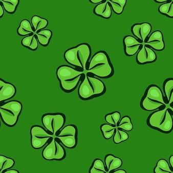 원활한 패턴 떨어지는 녹색 클로버 잎 성 패트릭의 날 상징 벡터 일러스트 레이 션