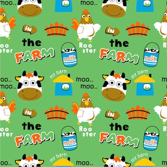 Seamless pattern farm animal cartoon