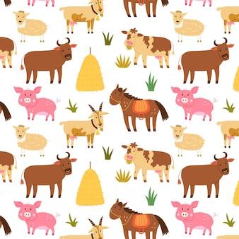 Бесшовные модели сельскохозяйственных животных лошадь свинья овца корова бык. повторяющийся фон с деревенскими мотивами. вектор рука рисовать бумагу, обои дизайн детской