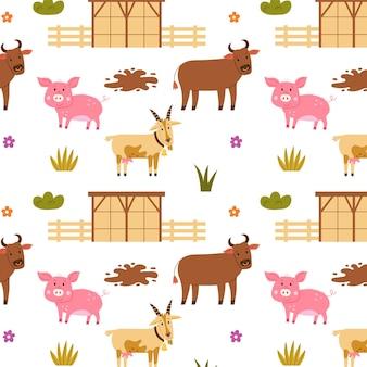 Бесшовные модели фермы сарай свинья бык коза. повторяющийся фон с деревенскими мотивами. вектор рука рисовать бумагу, обои дизайн детской