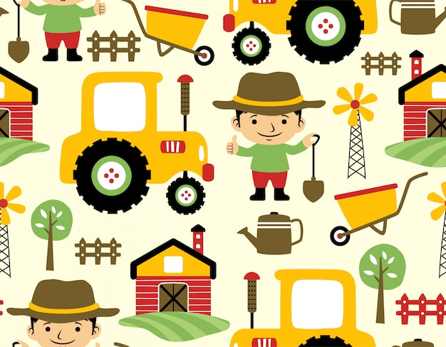 Seamless pattern of farm field cartoon