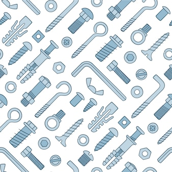 Seamless pattern of fasteners. bolts, screws, nuts, dowels and rivets in doodle style. hand drawn building material.
