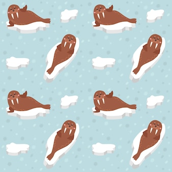 Seamless pattern fat walrus lay on ice.