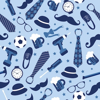 Seamless pattern of fathers day. set icons on light blue background.