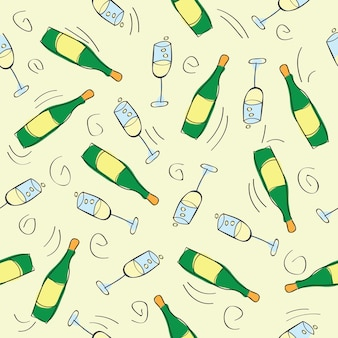 Seamless pattern - festive background with champagne - vector