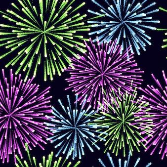 Seamless pattern of fireworks