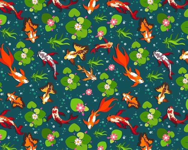 완벽 한 패턴, 물고기 잉어 잉어, 백합 연못