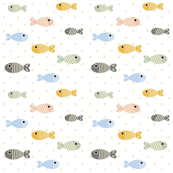 The seamless pattern of fish and line of fish on the white background with polka dot.