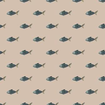 베이지색 바탕에 원활한 패턴 물고기입니다. 바다 동물이 있는 미니멀한 장식. 직물에 대한 기하학적 템플릿입니다. 디자인 벡터 일러스트 레이 션.
