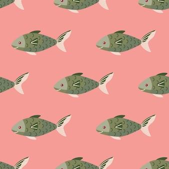 분홍색 배경에 원활한 패턴 물고기입니다. 바다 동물과 추상 장식입니다. 직물에 대한 기하학적 템플릿입니다. 디자인 벡터 일러스트 레이 션.