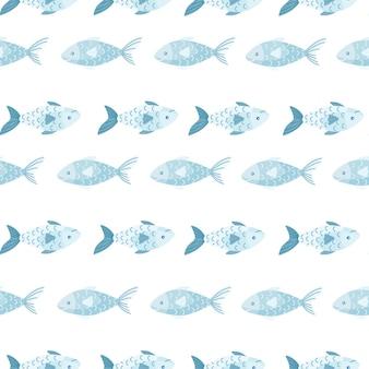 Бесшовные рыбы на белом фоне. современный орнамент с морскими животными. геометрический шаблон для ткани. дизайн векторные иллюстрации.