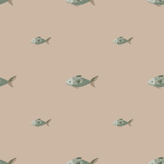 Seamless pattern fish on pastel brown background. modern ornament with sea animals.