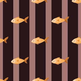 Seamless pattern fish on stripes brown background. modern ornament with sea animals. geometric template for fabric. design vector illustration.