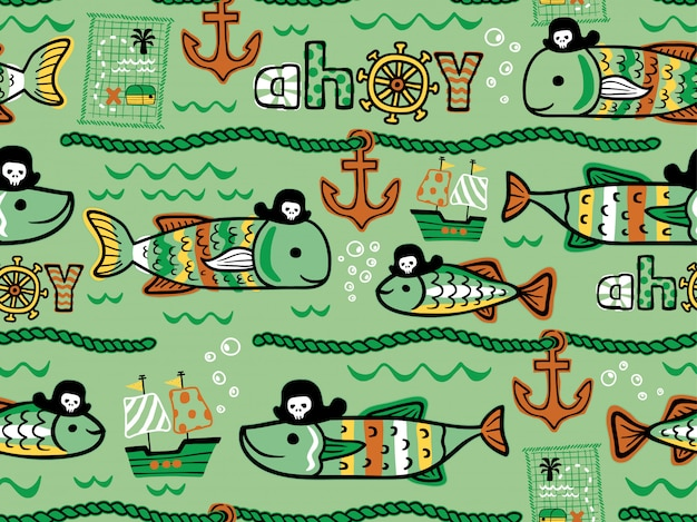 Seamless pattern of fishes pirates cartoon