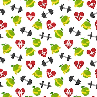 Seamless pattern fitness healthy lifestyle with heart apple barbells vector illustration