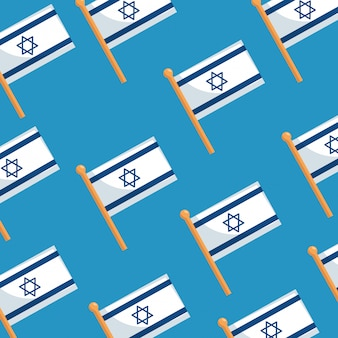 Seamless pattern of flags israel patriotic