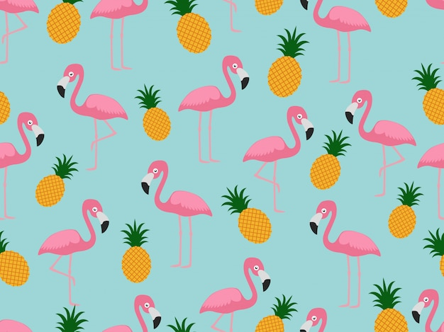 Seamless pattern of flamingo with pineapple
