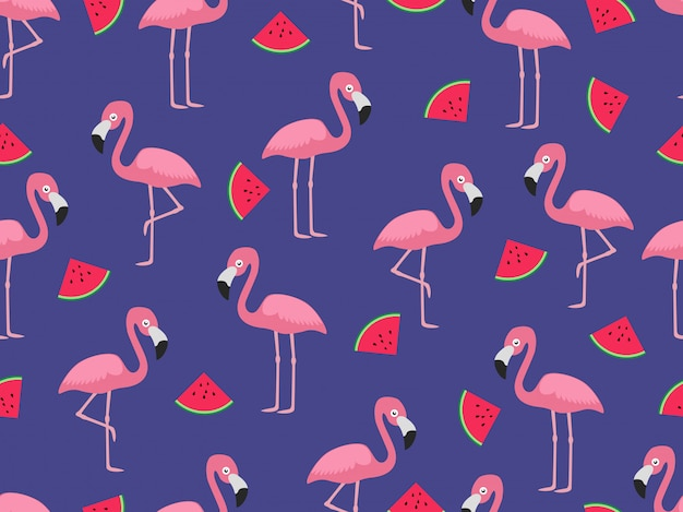Seamless pattern of flamingo with slice watermelon
