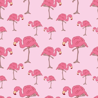Бесшовные модели. фламинго. каракули. контурная птица. контур. розовый фламинго. розовый цвет