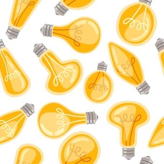 Seamless pattern of flat cartoon incandescent lamps yellow retro light bulbs vector illustration