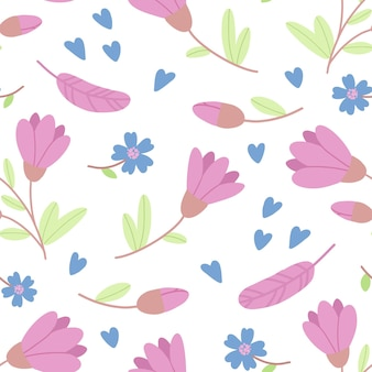 Seamless pattern of flat images with flowers and hearts Premium Vector