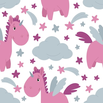 Seamless pattern of flat images with a unicorn clouds and a rainbow