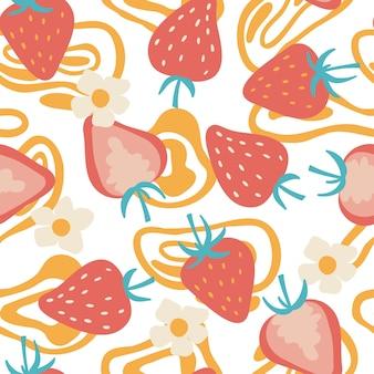 非現実的なスポットのシームレスなパターンの平らなイチゴ