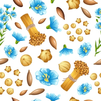 Seamless pattern flax seeds and flowers.