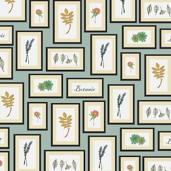 シームレスパターンの花と植物のフレーム