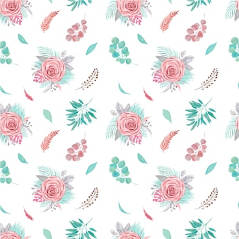 Seamless pattern of floral arrangement. tropical palm leaves, pampas rose, eucalyptus branches, greenery on white background