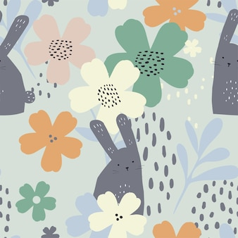 Seamless pattern floral background with cute white bunnies hand draw