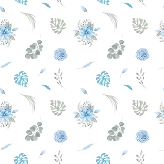 Seamless pattern of floral blue flowers and greenery on a white background.
