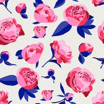 원활한 패턴 꽃 식물 개념 분홍색 모란 또는 장미 반복 인쇄