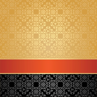 Seamless pattern, floral decorative, orange ribbon