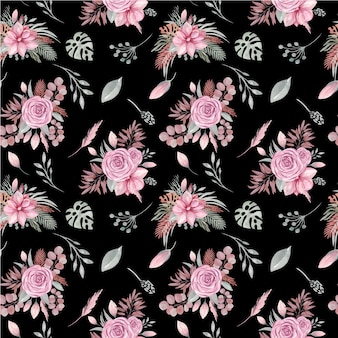 Seamless pattern of floral elements on a black background. boho dried plants and flowers, rose, tropical leaves, eucalyptus branches, magnolia