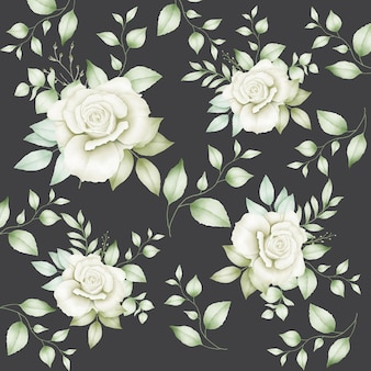 シームレスパターン花の葉水彩