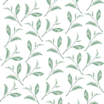 Бесшовные модели цветочные листья акварель