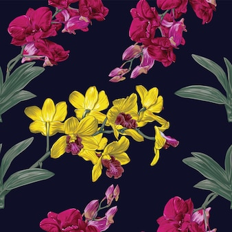 Seamless pattern floral orchid flowers.