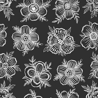 Seamless pattern floral outline hand drawbotanical plant flower design