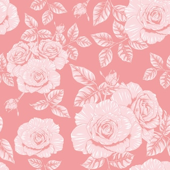 Seamless pattern floral pink rose flowers vintage abstract background