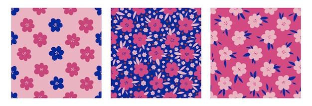 Seamless pattern floral set hand drawn.