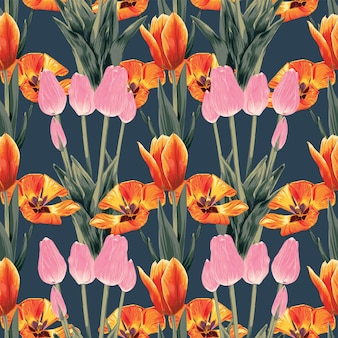 Seamless pattern floral tulip flowers abstract.vector illustration watercolor drawing style.