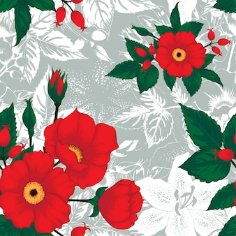 Seamless pattern floral white lily, red rose wildflowers on abstract background.
