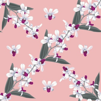 Seamless pattern floral white orchid flowers abstract background.