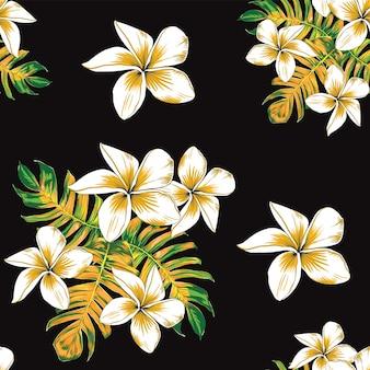フランジパニの花とモンステラの葉の抽象的な背景と花のシームレスなパターン。イラスト手描き。