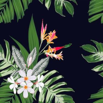 フランジパニの花の背景と花のシームレスなパターン。